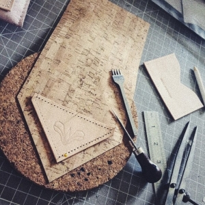 handmade cork purse in detail